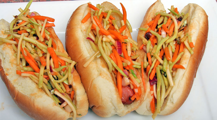 Broccoli Slaw Hot Dogs featuring Mumbo Sauce