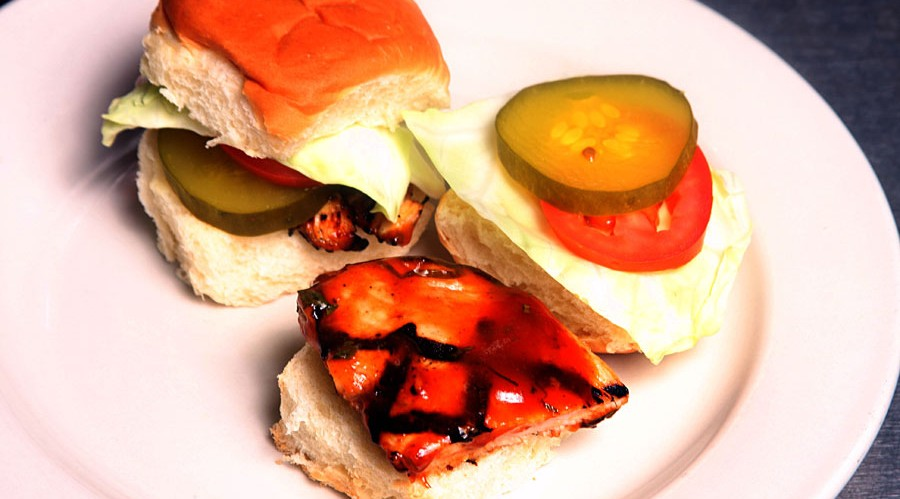 Grilled Chicken Sandwich with Hot Tangy Guava Cilantro BBQ Sauce