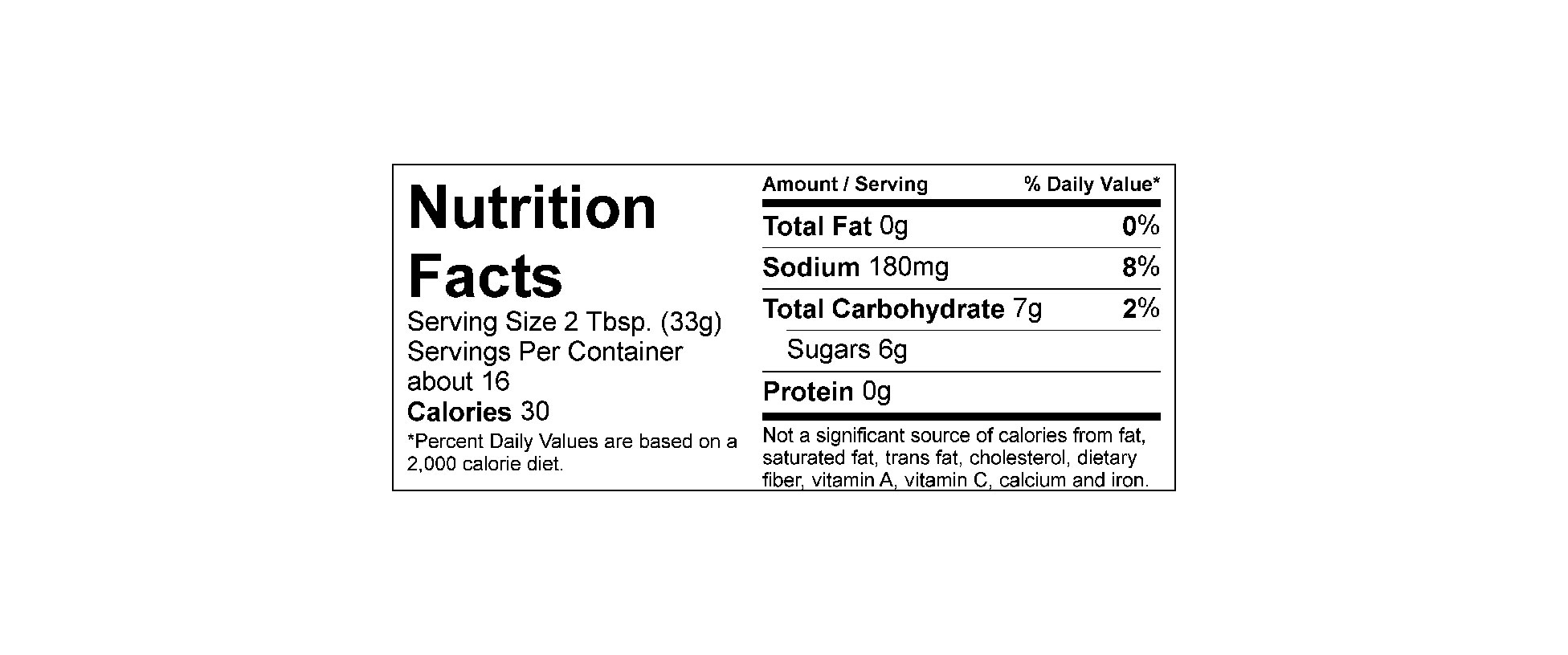 Nutritional label updated 8-2016