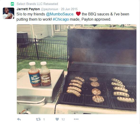 Jarrett Payton tweet recommending Mumbo Sauce